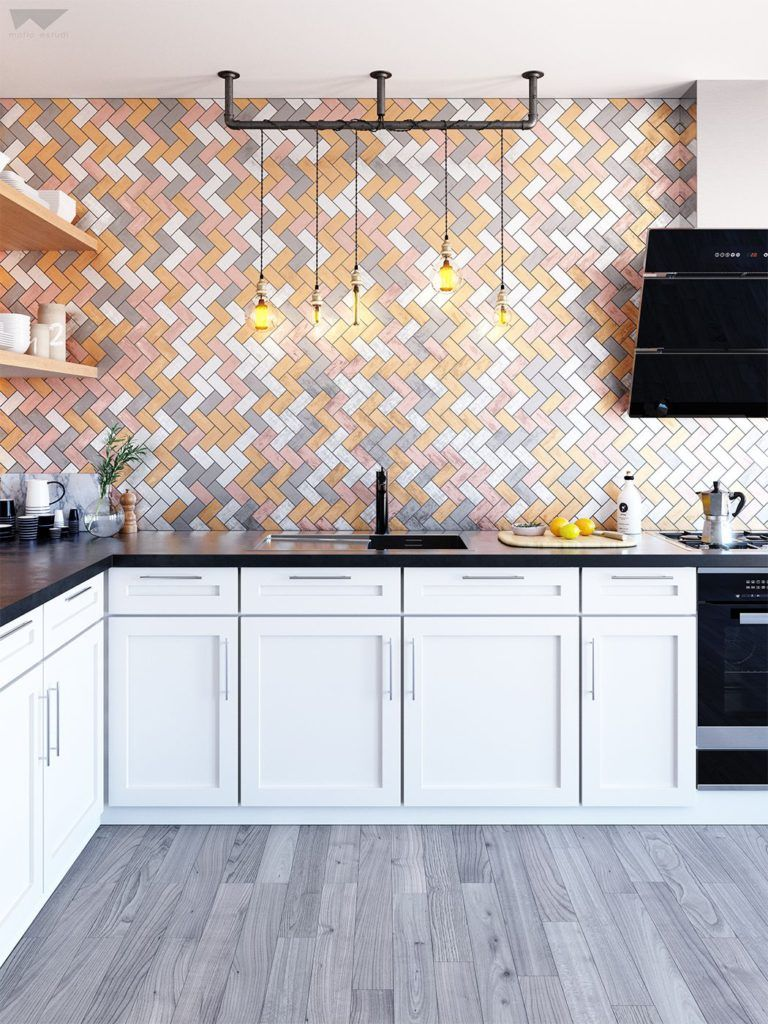 Modern kitchen with colorful Herringbone wall tiles